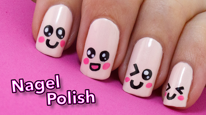 Cute Kawaii Emoji Faces nail art by Nagel Polish - Cute Kawaii Emoji Faces Nail Art By Nagel Polish - Nailpolis: Museum