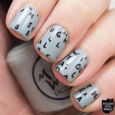 Grey typography freehand nail art 4 thumb370f