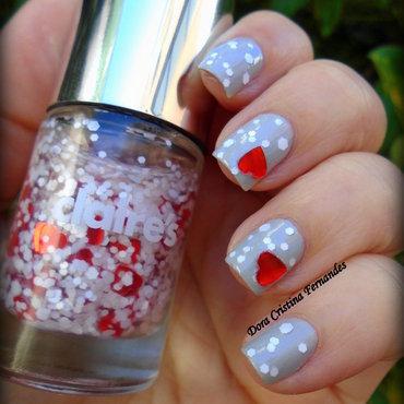 Valentine Manicure nail art by Dora Cristina Fernandes