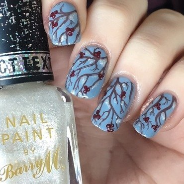 Winter Berries  nail art by allwaspolished