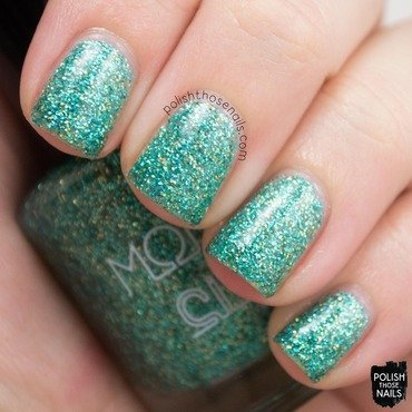 Model city polish aqua aura teal gold holo micro glitter swatch 3 thumb370f