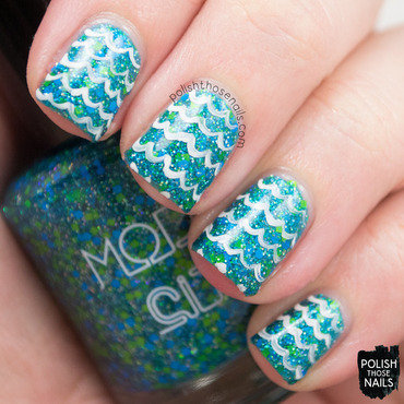 Model city polish cool waters teal green glitter waves nail art 3 thumb370f