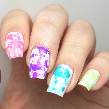 Neon Splatter nail art by PolishIsSweet
