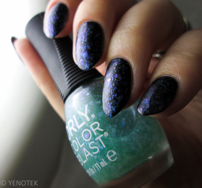My Secret 121 and Orly Color Blast Green Flakie Matte Top Swatch by Yenotek