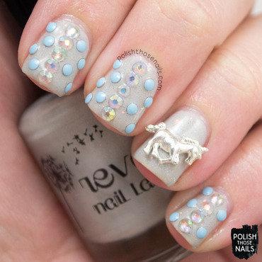 Grey shimmer stud rhinestone unicorn charm nail art 4 thumb370f