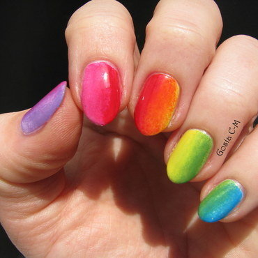 Pure rainbow nail art by Nail Crazinesss