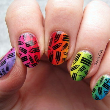 Colorful pencils nail art by Nail Crazinesss