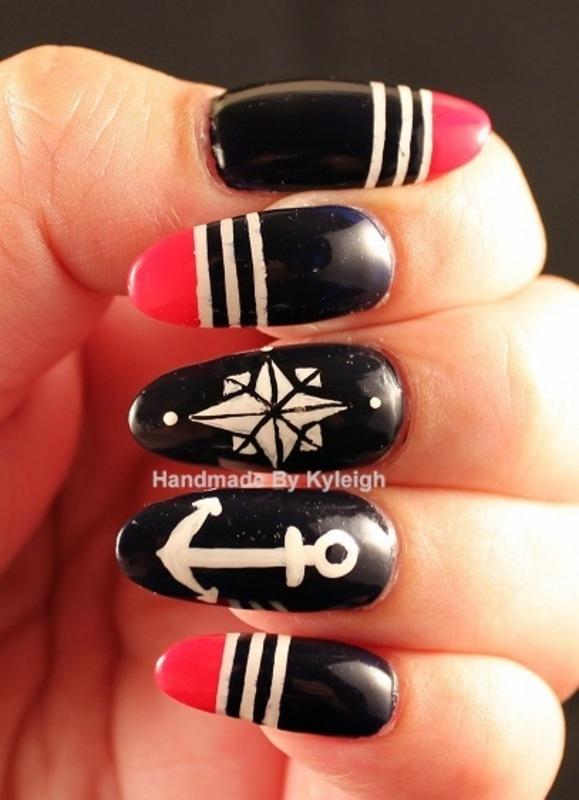Summer Nautical nail art by  Kyleigh  'Handmade By Kyleigh'