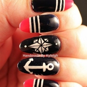 Summer Nautical nail art by  Kyleigh  'Handmade By Kyleigh'