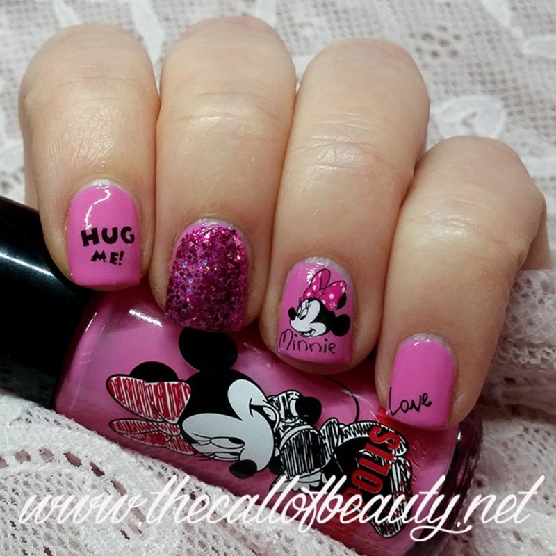 Pink Minnie Mouse nail art by The Call of Beauty