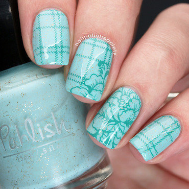 Mint Plaid and Floral nail art by Emiline Harris