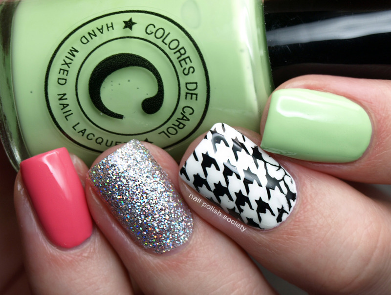 Houndstooth and Glitter nail art by Emiline Harris