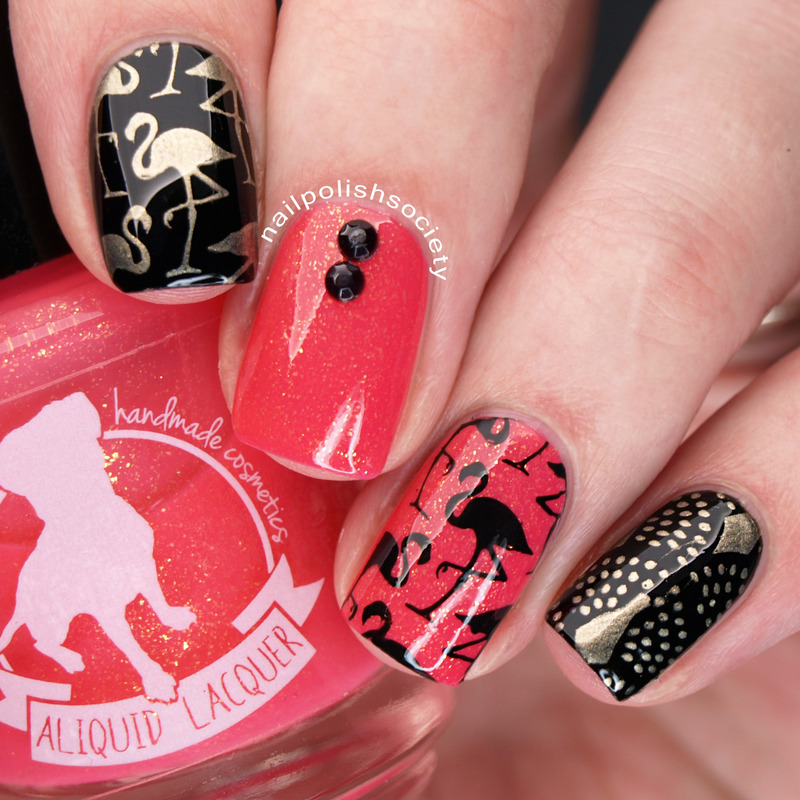 Flamingo Nails With ALIQUID Lacquer Bona Dea nail art by Emiline Harris