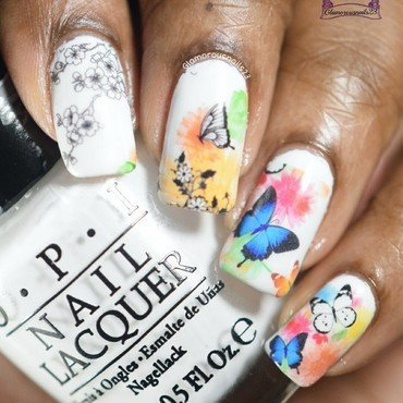 Lady Queen Butterfly Print Water Decals nail art by glamorousnails23