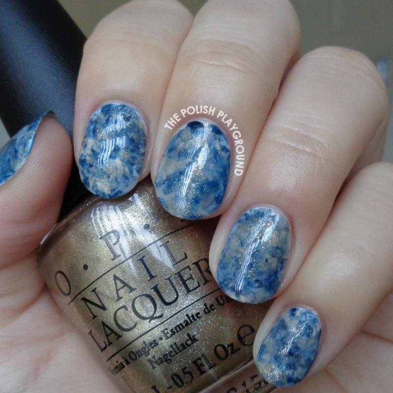 Water Marble Nail Polish Brands India: Grey, Blue, And Gold Stampng Marble Nail Art By Lisa N
