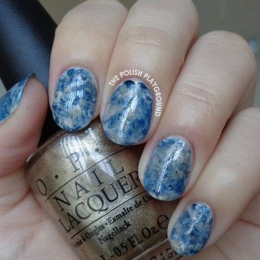 Grey, Blue, and Gold Stampng Marble nail art by Lisa N