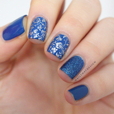 Blue Stamping nail art by NailThatDesign