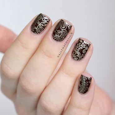 Elegant stamping nail art by NailThatDesign