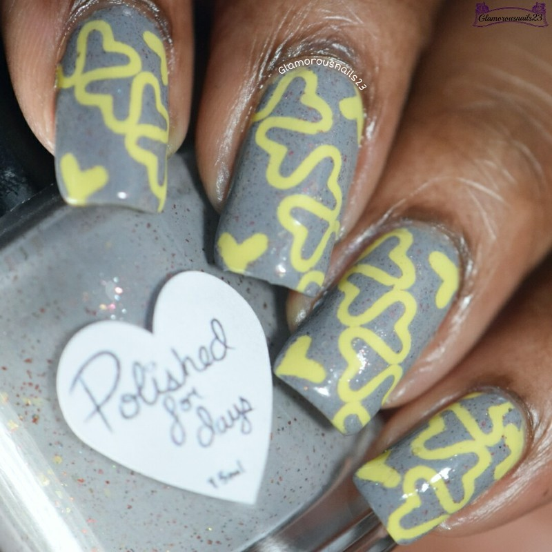 When Colors Collide: Yellow & Grey  nail art by glamorousnails23