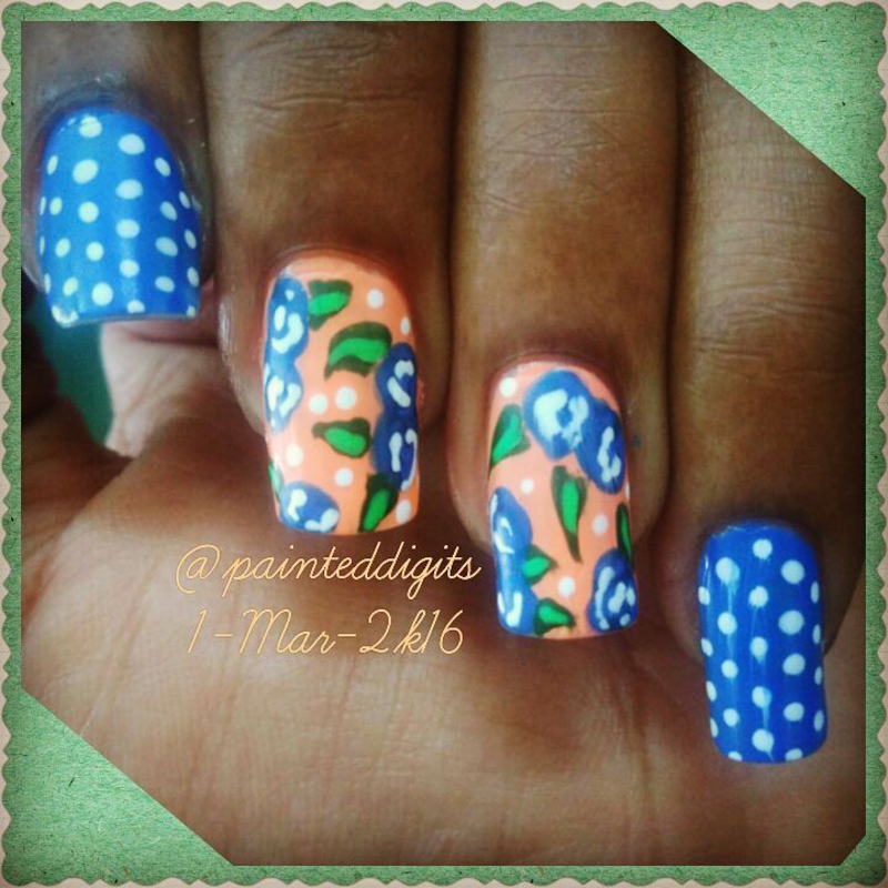 Flowers and Dotticure nail art by Painted Digits