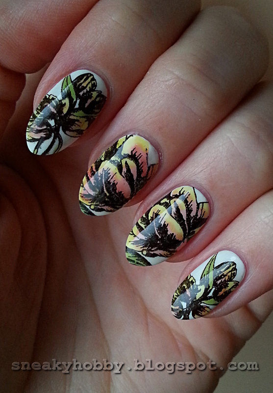 Coloured Tulips nail art by Mgielka M