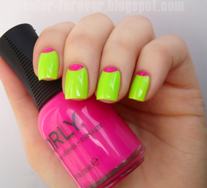 neon half moon manicure nail art by ania