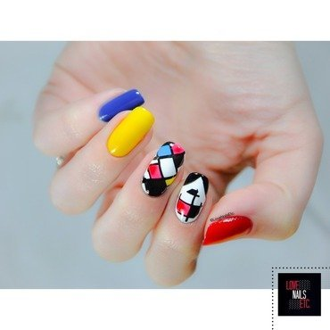 Mondrian Style nail art by Love Nails Etc