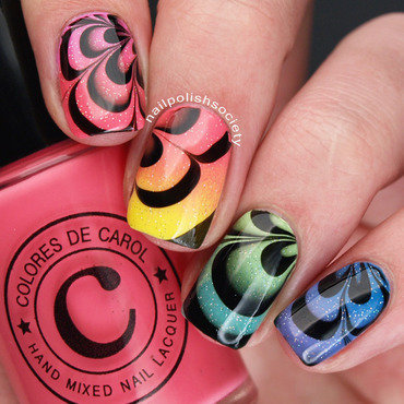 Rainbow Gradient Water Marble nail art by Emiline Harris