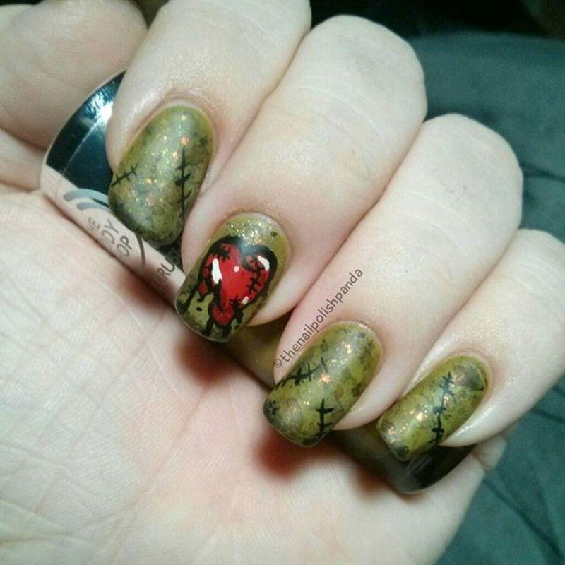 Zombie Heart nail art by Lynni V.