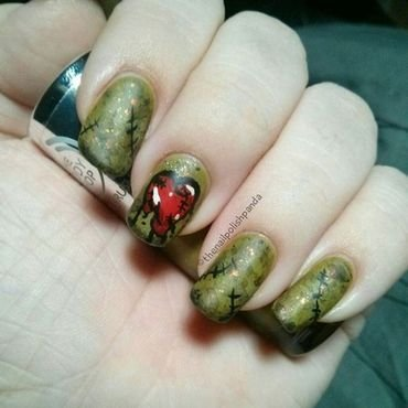 Zombie Heart nail art by Lynni V.