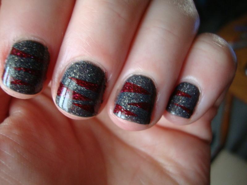 Winter Bordeaux nail art by Stephanie