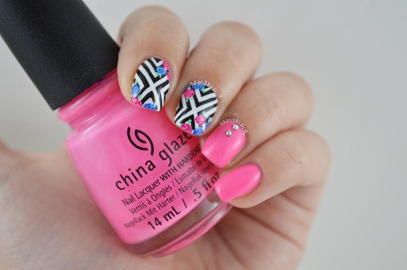 X patterns nail art by Julia