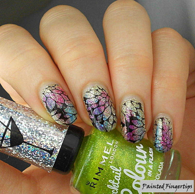 Stamping, Colours, and silver texture nail art by Kerry_Fingertips
