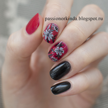 Red, black and grey nail art by Passionorkinda