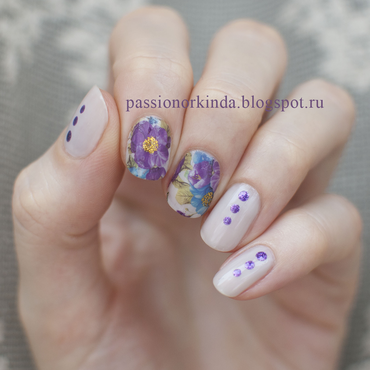 Floral water decals nail art by Passionorkinda