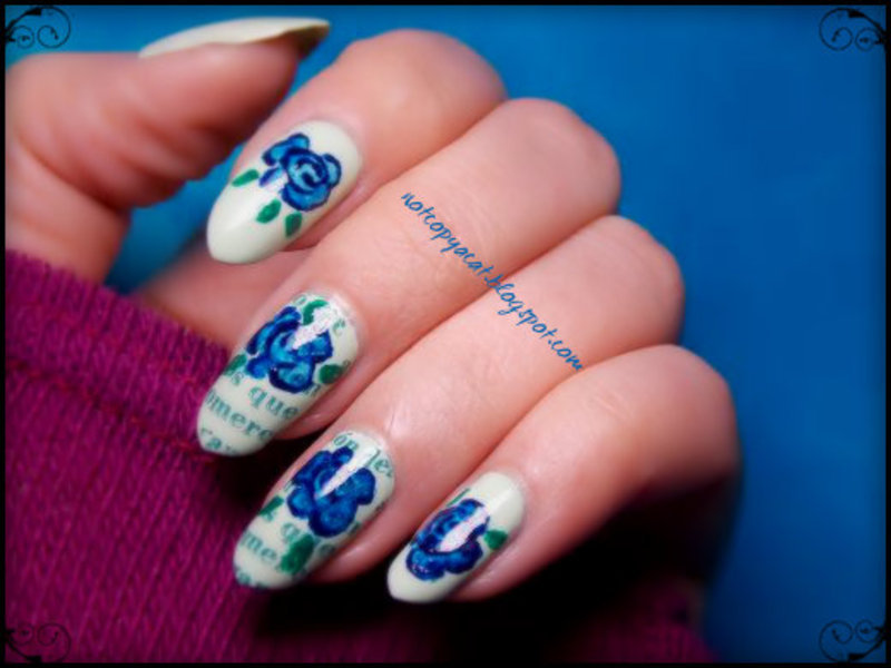 Inky roses on a newspaper nail art by notcopyacat