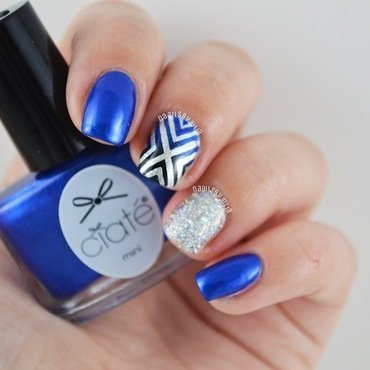 Blue and silver nail art by Julia