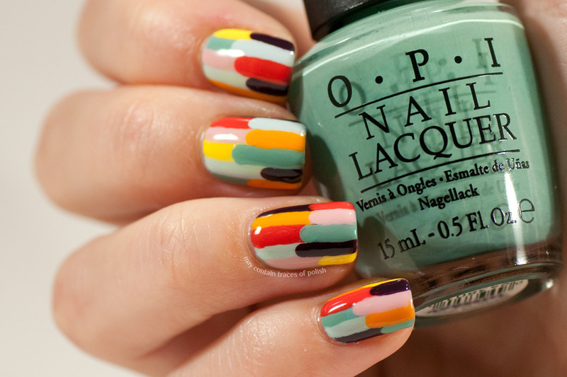 Color stripes nail art by Zara TracesOfPolish