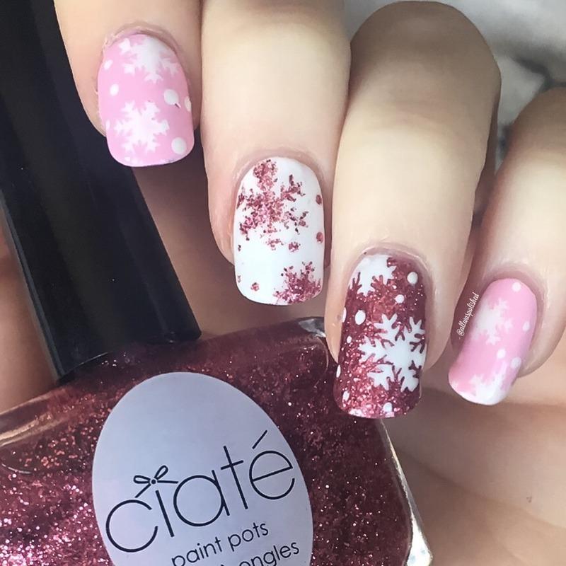 Pink Snowflakes nail art by allwaspolished