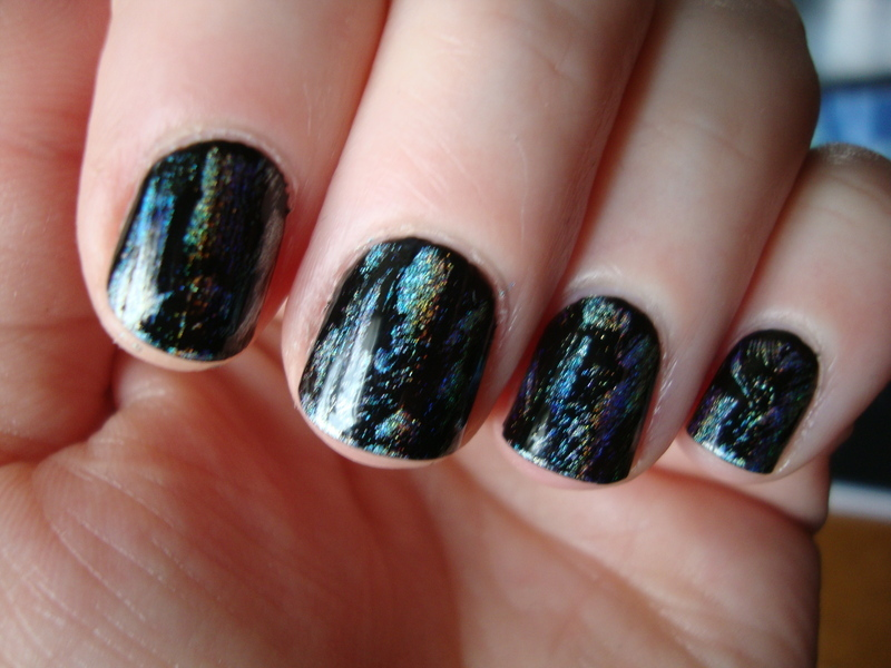 Holo dry brush nail art by Stephanie