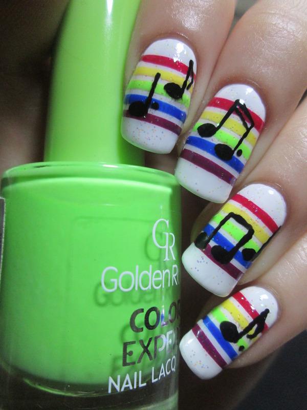 Rainbow Stripes With Music Notes Nail Art By Nailartt Nailpolis