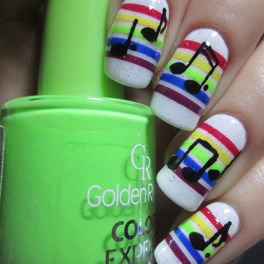 Rainbow stripes with music notes nail art by NailArt_T