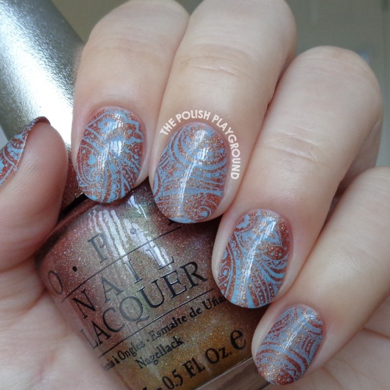 Intricate Vibrant Light Blue Stamping nail art by Lisa N