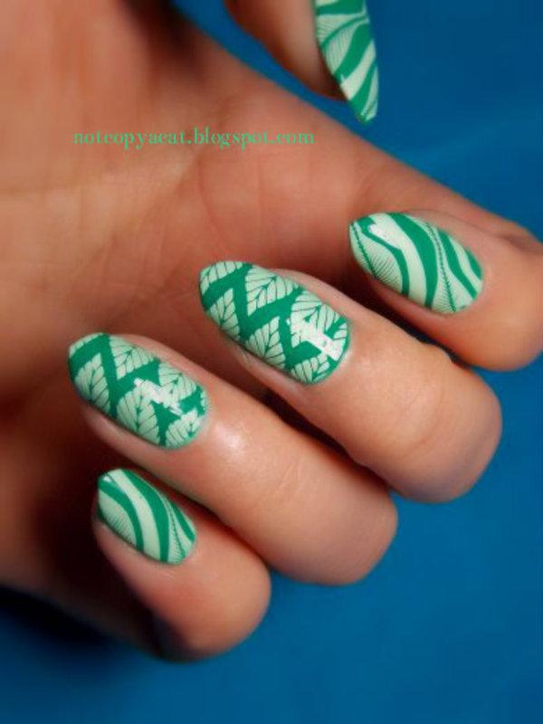 Leafy tropics nail art by notcopyacat