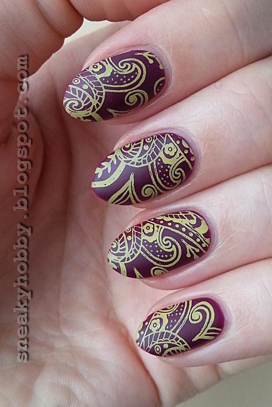 Yellow Stamping nail art by Mgielka M