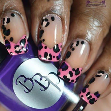 Chevron Tips & Leopard Print nail art by glamorousnails23