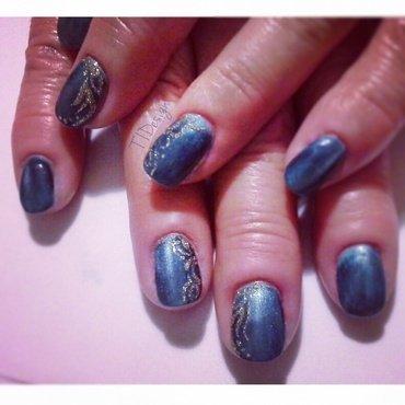 Blue Cat Eye nail art by TIDesign
