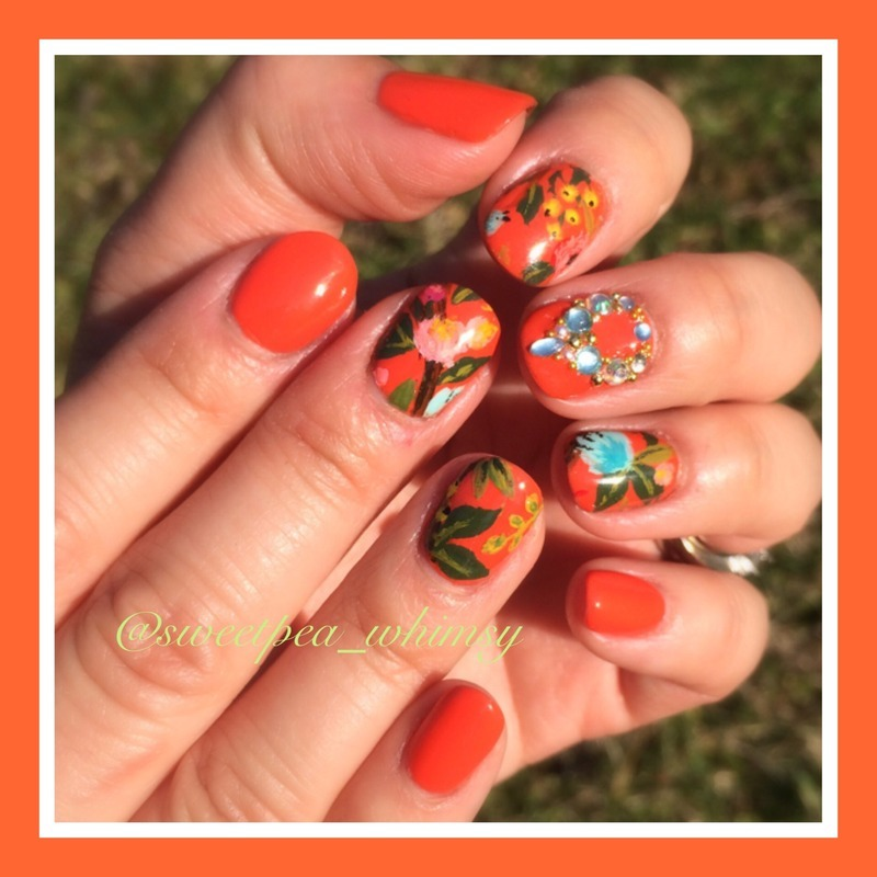 Tangerine & Floral nail art by SweetPea_Whimsy