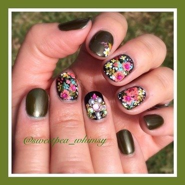 Olive & Whimsical Floral nail art by SweetPea_Whimsy