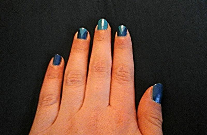 colour switch triangles nail art by myla murray